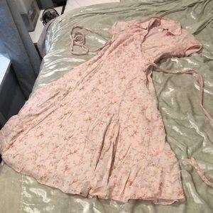 Pretty cotton wrap dress pink